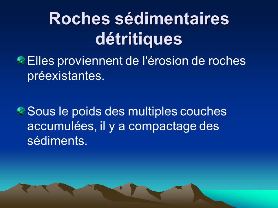 Roches sédimentaires détritiques Elles proviennent de l'érosion de roches préexistantes. Sous le poids des multiples couches accumulées, il y a compac