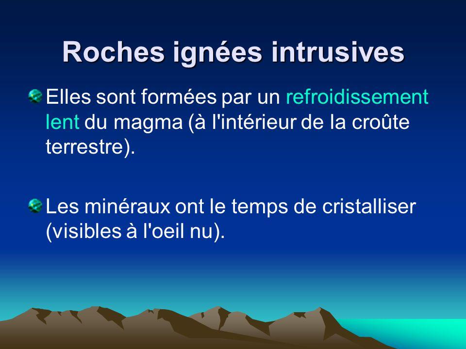 Roches ignées intrusives Elles sont formées par un refroidissement lent du magma (à l'intérieur de la croûte terrestre). Les minéraux ont le temps de
