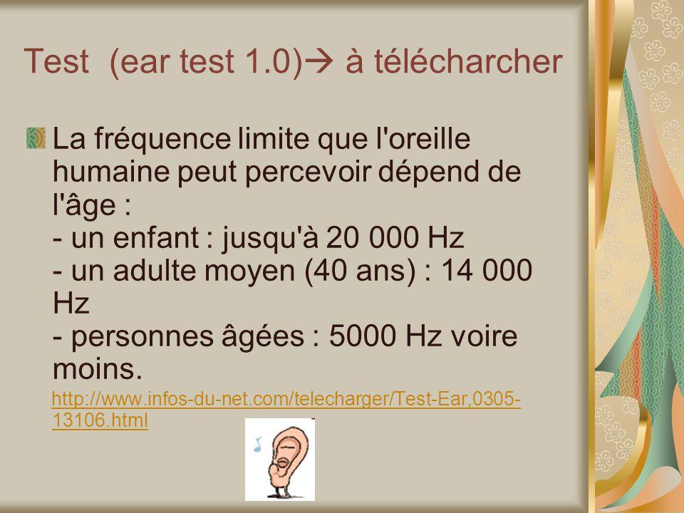 Test (ear test 1.0) à télécharcher La fréquence limite que l oreille humaine peut percevoir dépend de l âge : - un enfant : jusqu à 20 000 Hz - un adulte moyen (40 ans) : 14 000 Hz - personnes âgées : 5000 Hz voire moins.