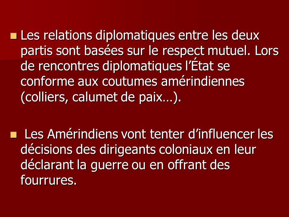 Les relations diplomatiques entre les deux partis sont basées sur le respect mutuel. Lors de rencontres diplomatiques lÉtat se conforme aux coutumes a