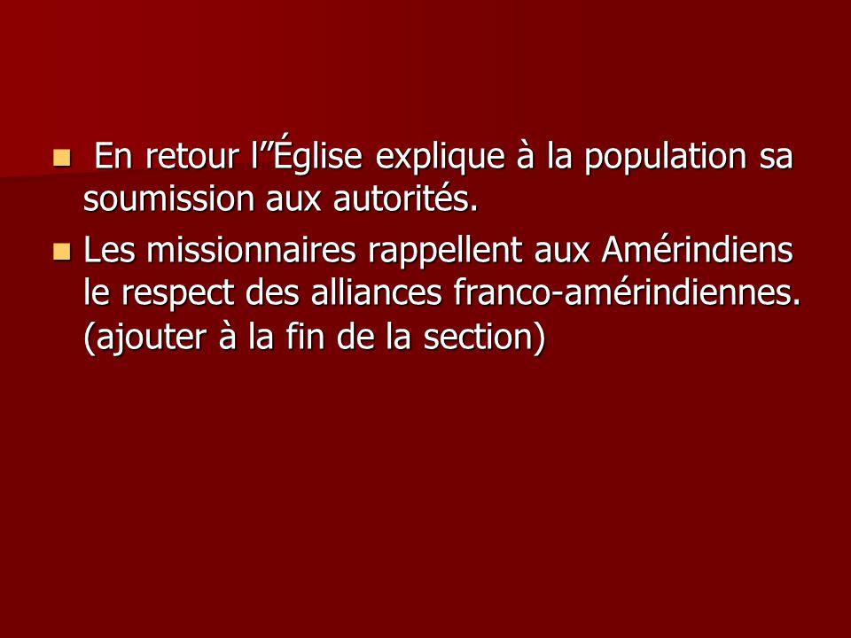 En retour lÉglise explique à la population sa soumission aux autorités.