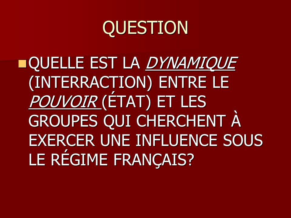 QUESTION QUELLE EST LA DYNAMIQUE (INTERRACTION) ENTRE LE POUVOIR (ÉTAT) ET LES GROUPES QUI CHERCHENT À EXERCER UNE INFLUENCE SOUS LE RÉGIME FRANÇAIS?