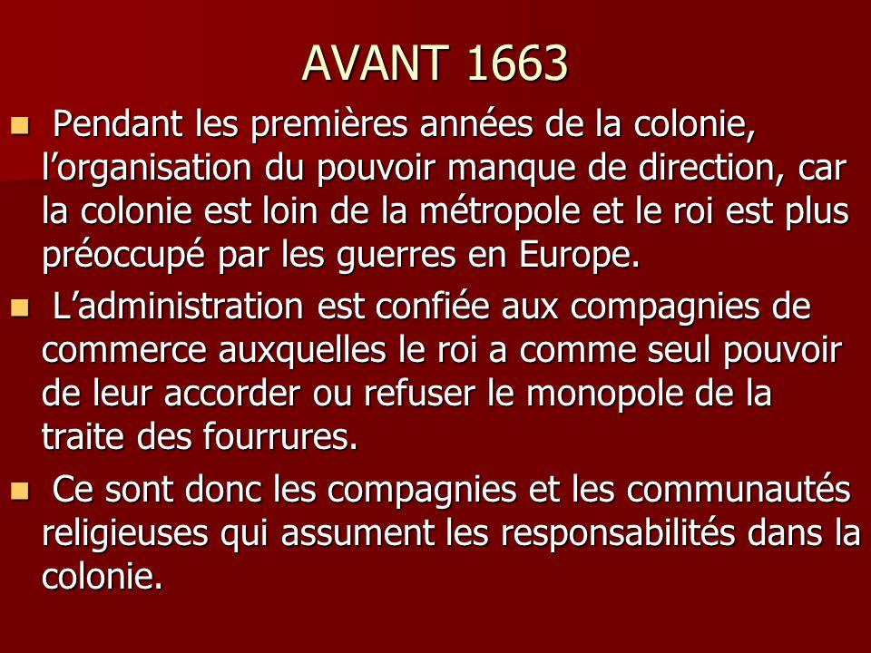 AVANT 1663 Pendant les premières années de la colonie, lorganisation du pouvoir manque de direction, car la colonie est loin de la métropole et le roi est plus préoccupé par les guerres en Europe.
