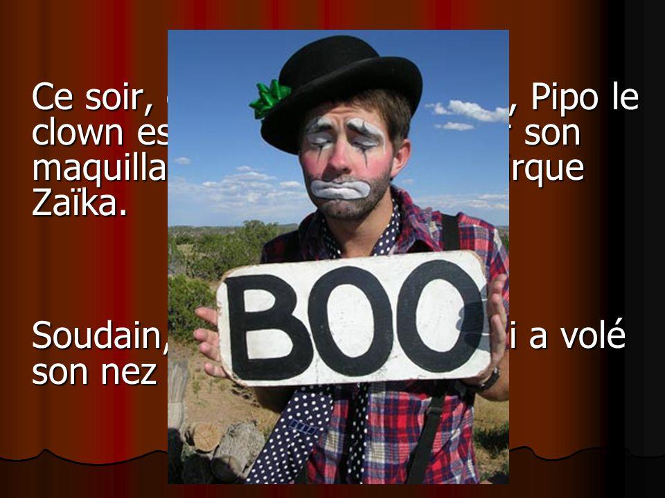 Ce soir, comme tous les soirs, Pipo le clown est en train dappliquer son maquillage dans sa loge au cirque Zaïka. Soudain, il saperçoit quon lui a vol