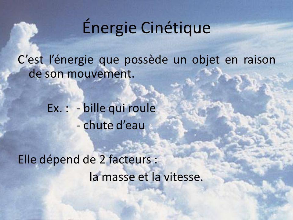 Énergie Cinétique Cest lénergie que possède un objet en raison de son mouvement. Ex. : - bille qui roule - chute deau Elle dépend de 2 facteurs : la m