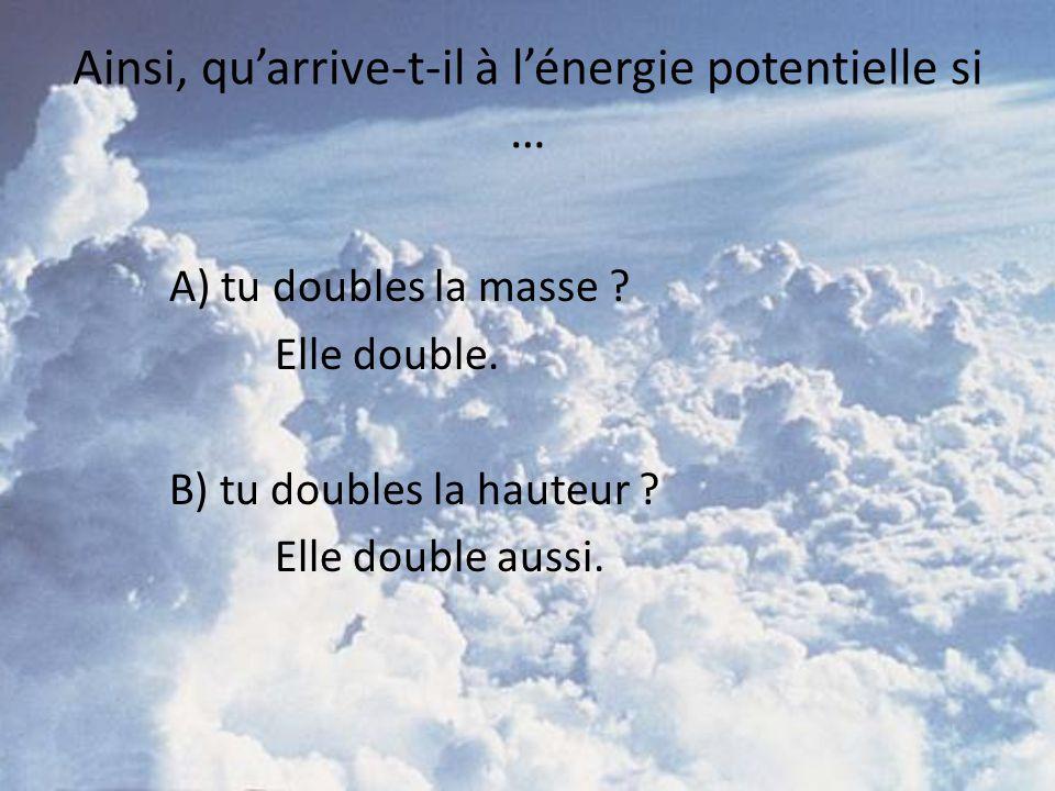 Ainsi, quarrive-t-il à lénergie potentielle si … A) tu doubles la masse ? Elle double. B) tu doubles la hauteur ? Elle double aussi.