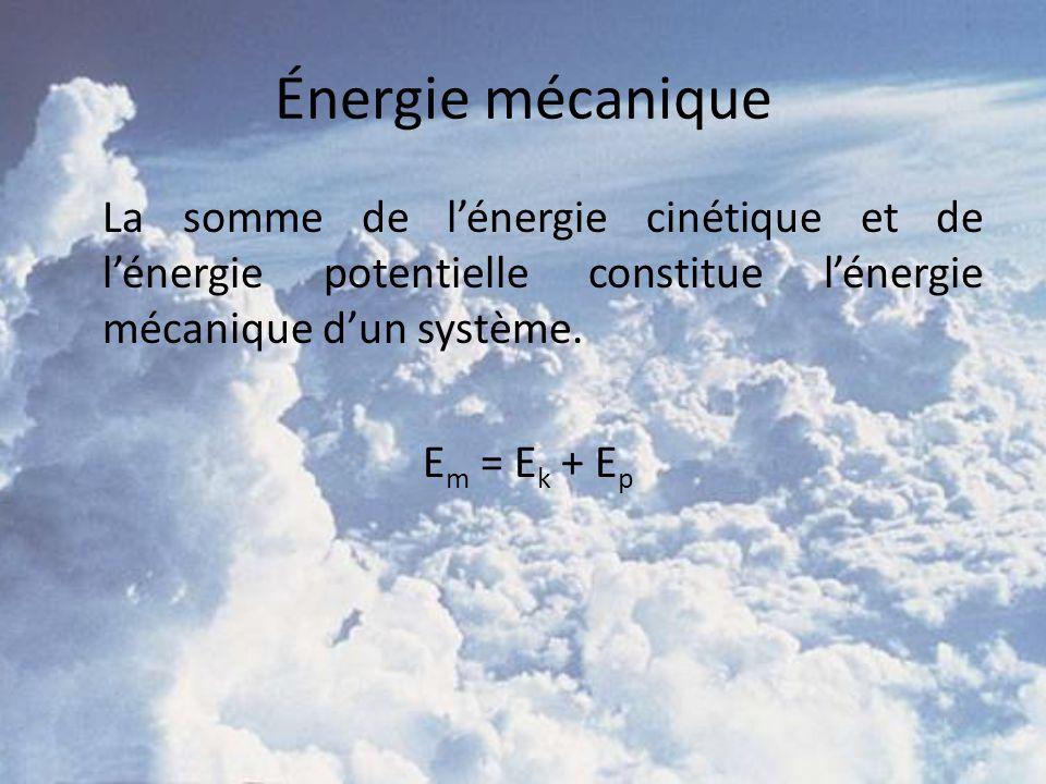 Énergie mécanique La somme de lénergie cinétique et de lénergie potentielle constitue lénergie mécanique dun système. E m = E k + E p