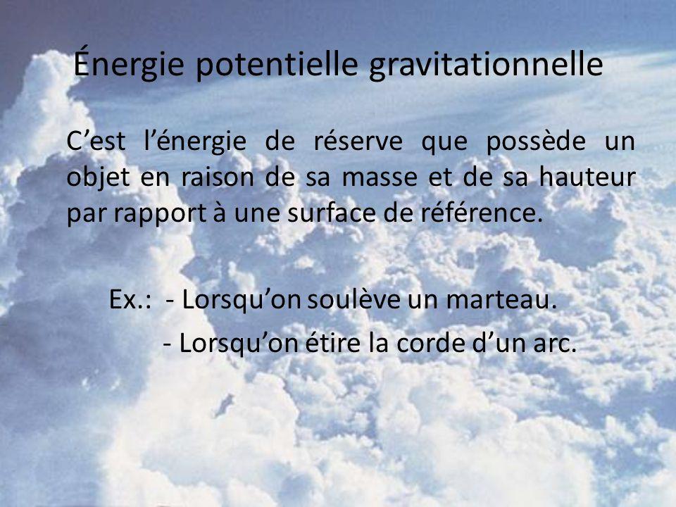 Énergie potentielle gravitationnelle Cest lénergie de réserve que possède un objet en raison de sa masse et de sa hauteur par rapport à une surface de référence.