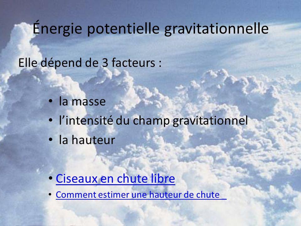 Énergie potentielle gravitationnelle Elle dépend de 3 facteurs : la masse lintensité du champ gravitationnel la hauteur Ciseaux en chute libre Comment