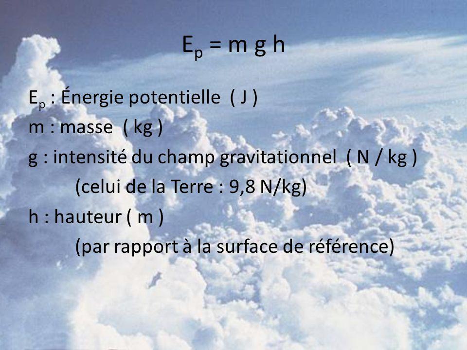 E p = m g h E p : Énergie potentielle ( J ) m : masse ( kg ) g : intensité du champ gravitationnel ( N / kg ) (celui de la Terre : 9,8 N/kg) h : haute
