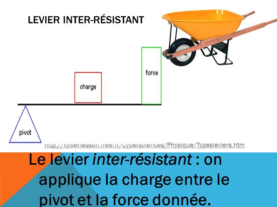 LEVIER INTER-RÉSISTANT Le levier inter-résistant : on applique la charge entre le pivot et la force donnée. http://cyberlesson.free.fr/Cybersciences/P