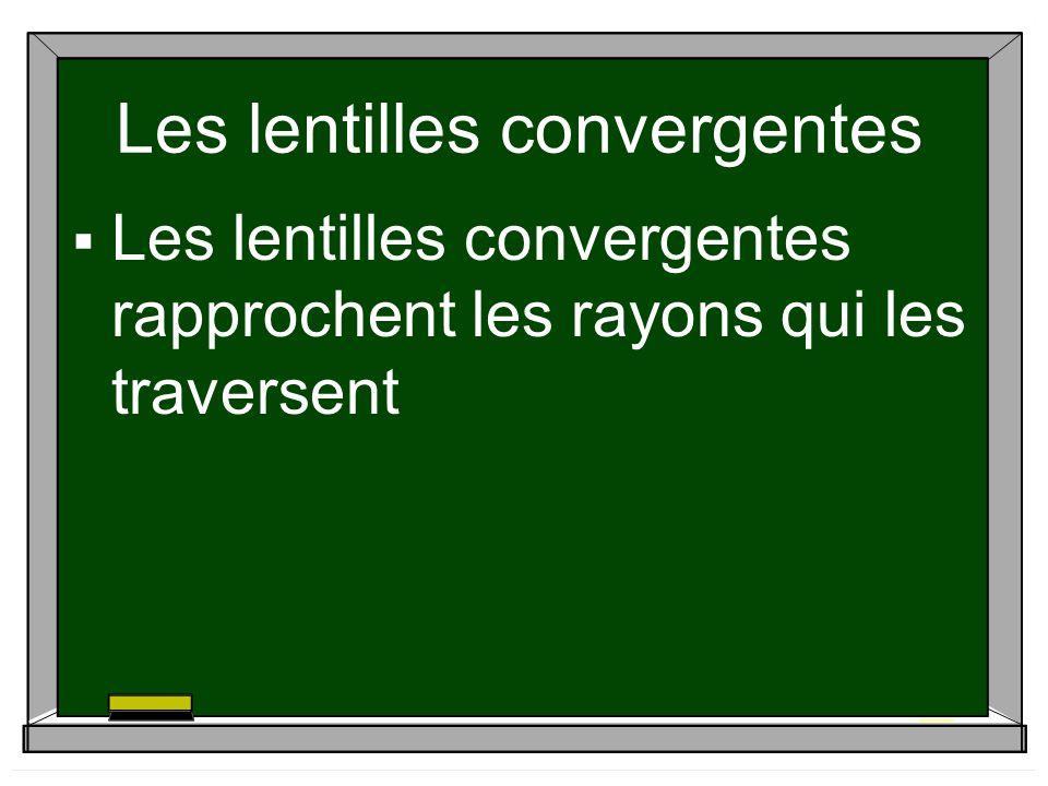 Les lentilles convergentes Les lentilles convergentes rapprochent les rayons qui les traversent