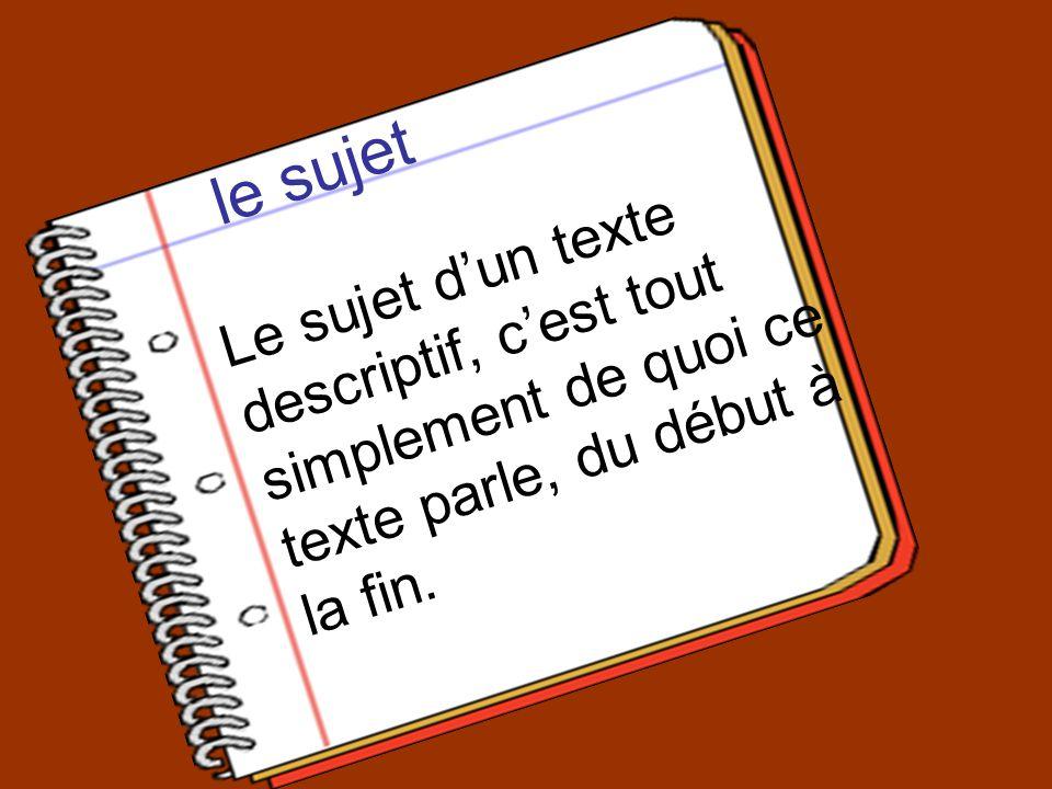 le sujet Le sujet dun texte descriptif, cest tout simplement de quoi ce texte parle, du début à la fin.