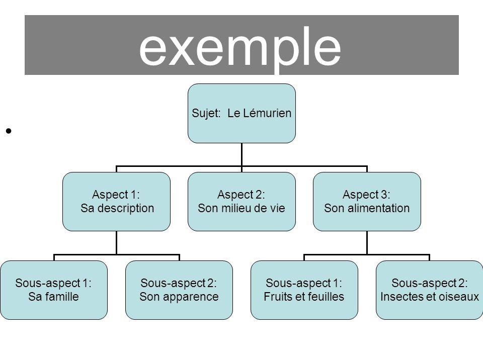 exemple Sujet: Le Lémurien Aspect 1: Sa description Aspect 2: Son milieu de vie Aspect 3: Son alimentation Sous-aspect 1: Sa famille Sous-aspect 2: So