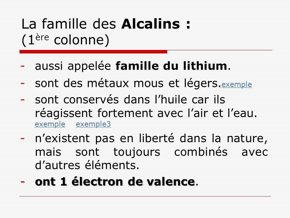 La famille des Alcalino-terreux : (2 ème colonne) -aussi appelée famille du béryllium.