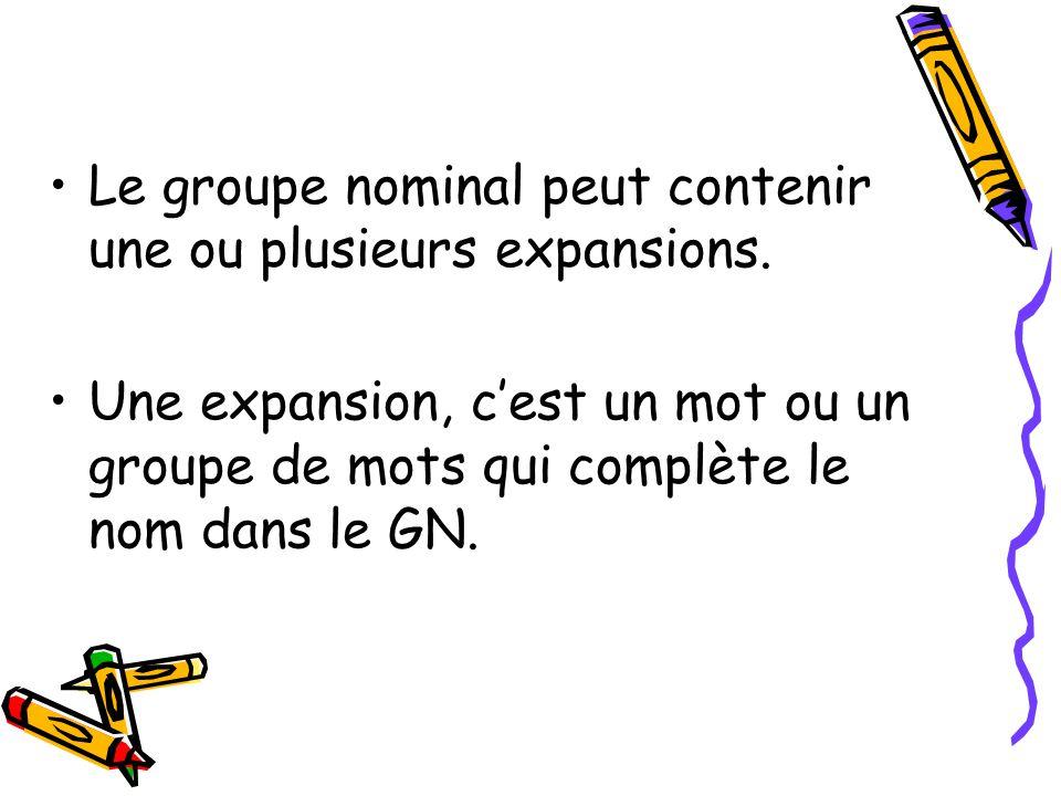 Groupe nominal = groupe du nom = GN Le noyau dun groupe nominal peut être: –Un nom précédé dun déterminant (ex.: une fleur) –Un nom seul (ex: Catherin