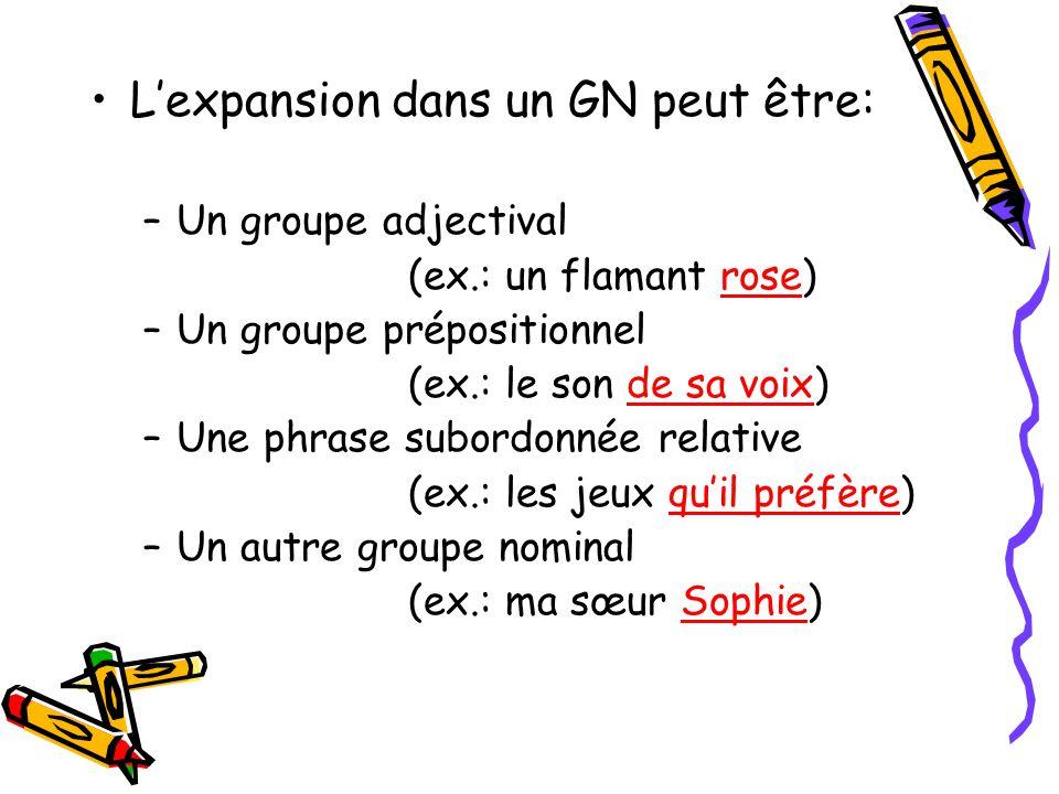 Le groupe nominal peut contenir une ou plusieurs expansions. Une expansion, cest un mot ou un groupe de mots qui complète le nom dans le GN.