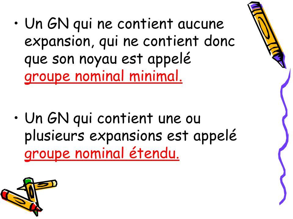 Lexpansion dans un GN peut être: –U–Un groupe adjectival (ex.: un flamant rose) –U–Un groupe prépositionnel (ex.: le son de sa voix) –U–Une phrase sub
