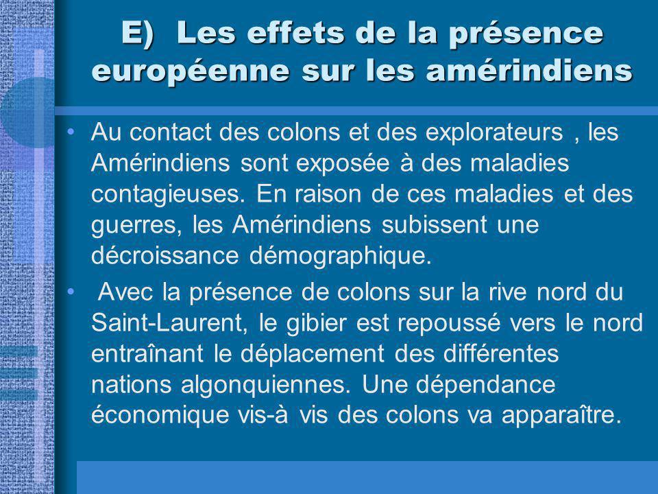 E) Les effets de la présence européenne sur les amérindiens Au contact des colons et des explorateurs, les Amérindiens sont exposée à des maladies contagieuses.