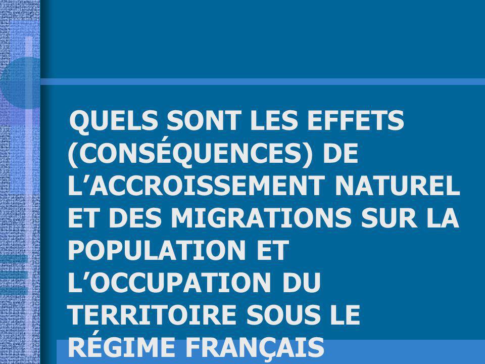 QUELS SONT LES EFFETS (CONSÉQUENCES) DE LACCROISSEMENT NATUREL ET DES MIGRATIONS SUR LA POPULATION ET LOCCUPATION DU TERRITOIRE SOUS LE RÉGIME FRANÇAIS