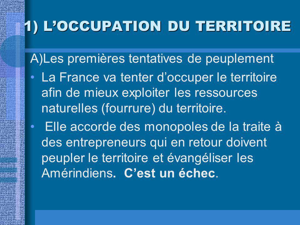 1) LOCCUPATION DU TERRITOIRE A)Les premières tentatives de peuplement La France va tenter doccuper le territoire afin de mieux exploiter les ressources naturelles (fourrure) du territoire.