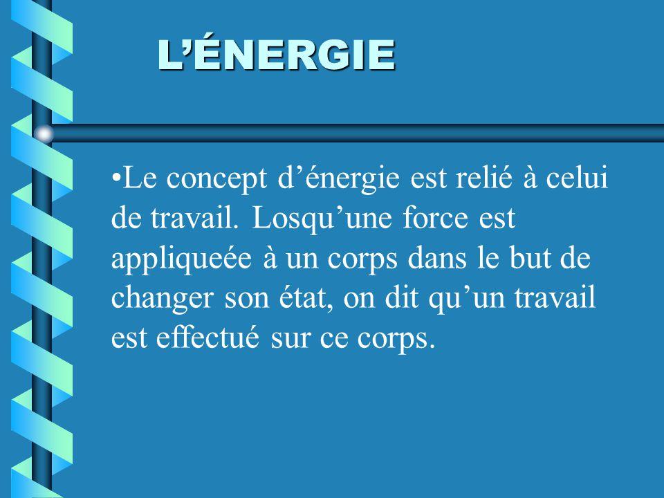 LÉNERGIE Le concept dénergie est relié à celui de travail. Losquune force est appliqueée à un corps dans le but de changer son état, on dit quun trava