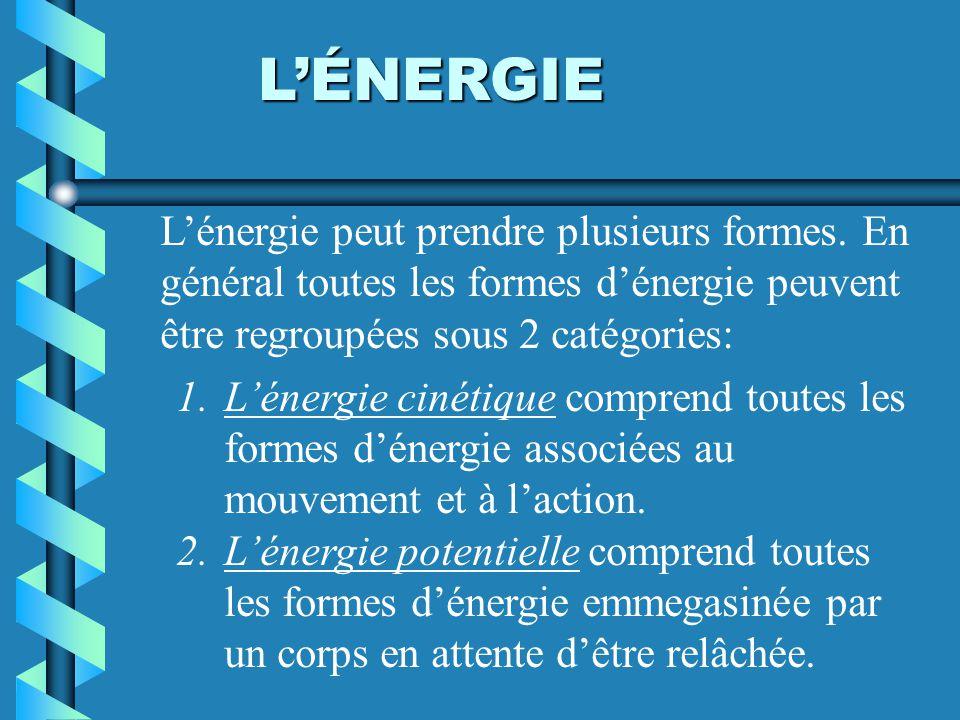 LÉNERGIE 1.Lénergie cinétique comprend toutes les formes dénergie associées au mouvement et à laction. 2.Lénergie potentielle comprend toutes les form