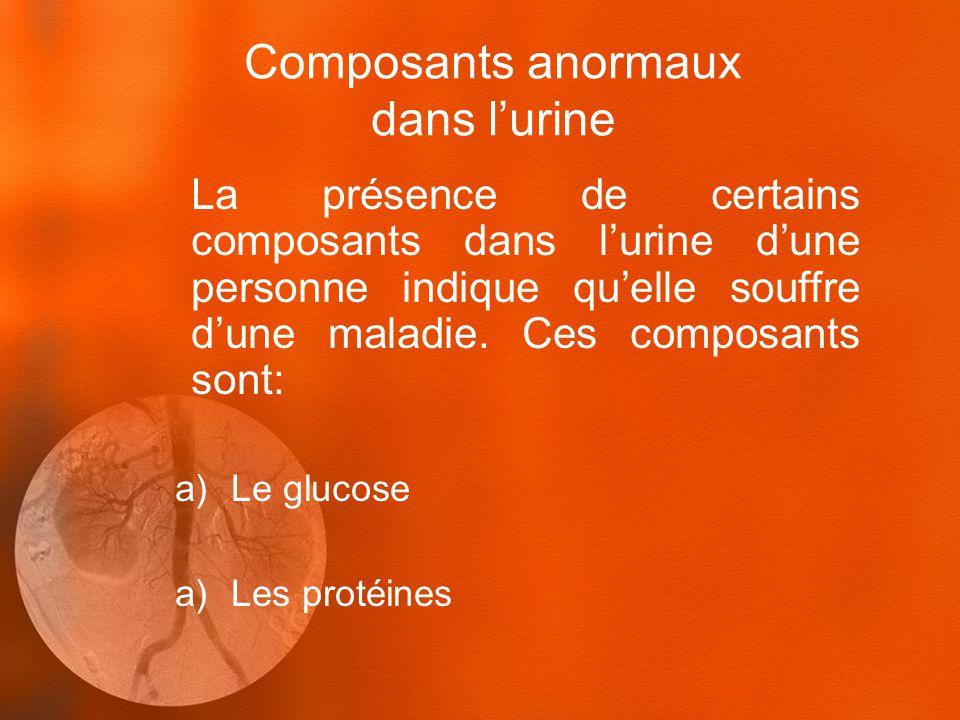 Composants anormaux dans lurine La présence de certains composants dans lurine dune personne indique quelle souffre dune maladie. Ces composants sont:
