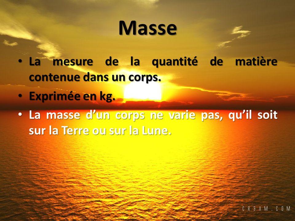 Masse La mesure de la quantité de matière contenue dans un corps.