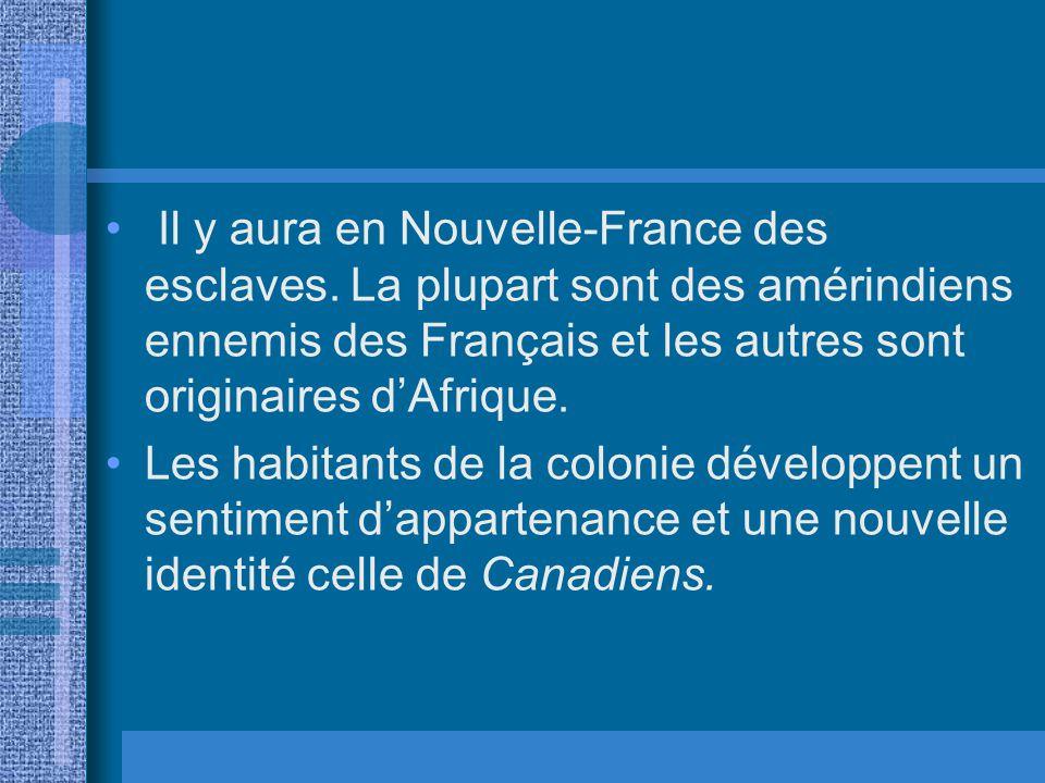 Il y aura en Nouvelle-France des esclaves. La plupart sont des amérindiens ennemis des Français et les autres sont originaires dAfrique. Les habitants