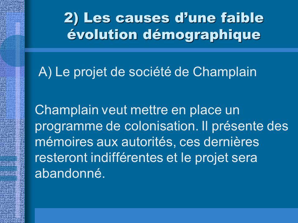 2) Les causes dune faible évolution démographique A) Le projet de société de Champlain Champlain veut mettre en place un programme de colonisation. Il