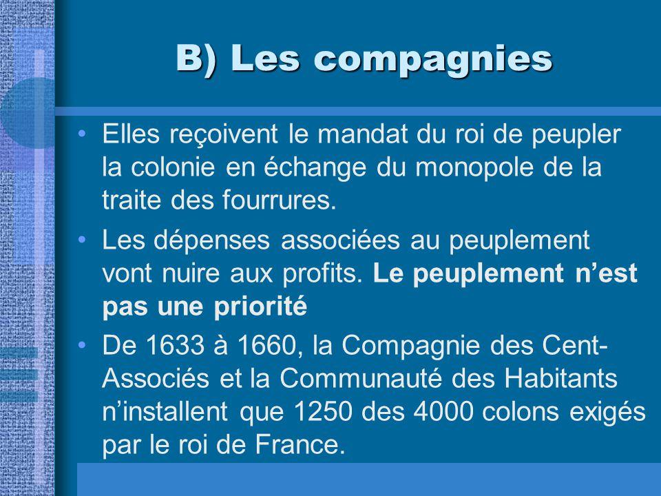 B) Les compagnies Elles reçoivent le mandat du roi de peupler la colonie en échange du monopole de la traite des fourrures. Les dépenses associées au