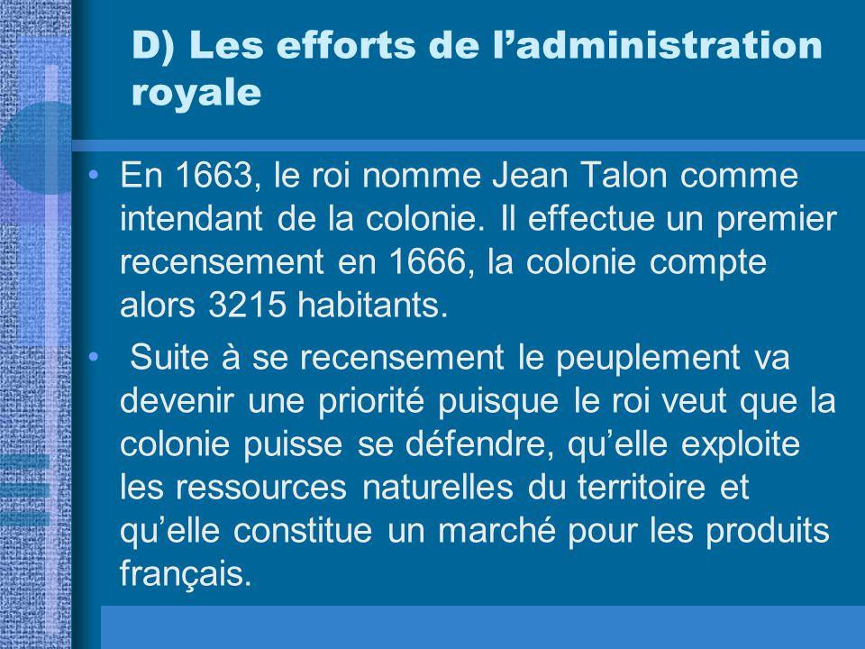 D) Les efforts de ladministration royale En 1663, le roi nomme Jean Talon comme intendant de la colonie. Il effectue un premier recensement en 1666, l