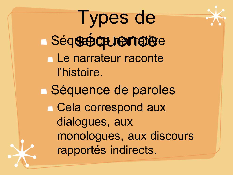 Types de séquence Séquence narrative Le narrateur raconte lhistoire. Séquence de paroles Cela correspond aux dialogues, aux monologues, aux discours r