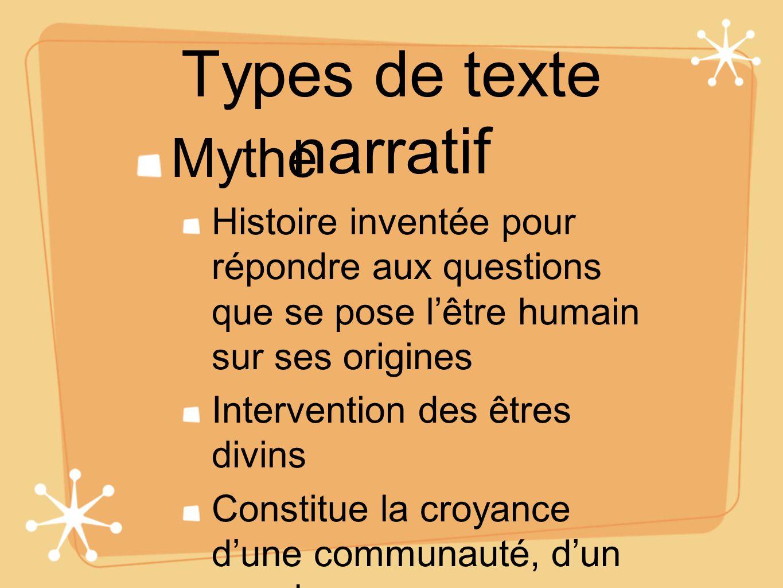 Types de texte narratif Mythe Histoire inventée pour répondre aux questions que se pose lêtre humain sur ses origines Intervention des êtres divins Co