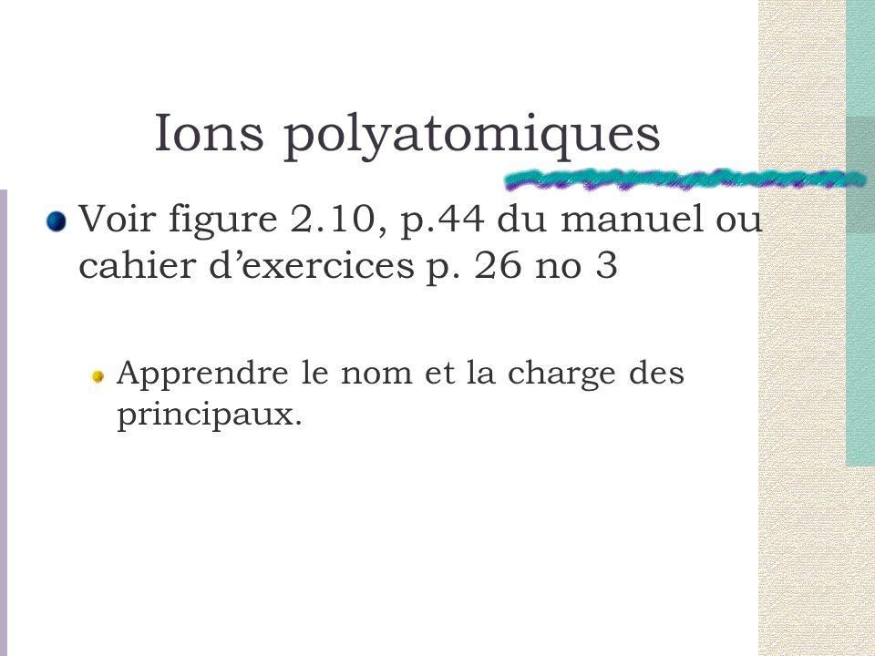 Ions polyatomiques Voir figure 2.10, p.44 du manuel ou cahier dexercices p. 26 no 3 Apprendre le nom et la charge des principaux.