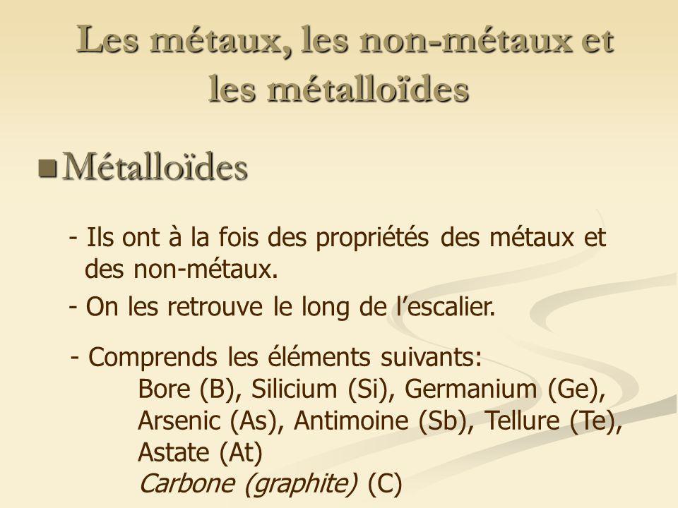 Les métaux, les non-métaux et les métalloïdes Les métaux, les non-métaux et les métalloïdes Métalloïdes Métalloïdes - Ils ont à la fois des propriétés