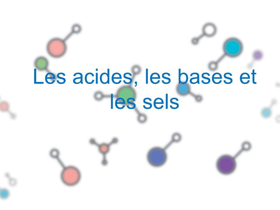 Les acides et les bases ACIDES Ce sont des substances qui libèrent des ions H + (aq) lorsquils sont dissous dans leau.