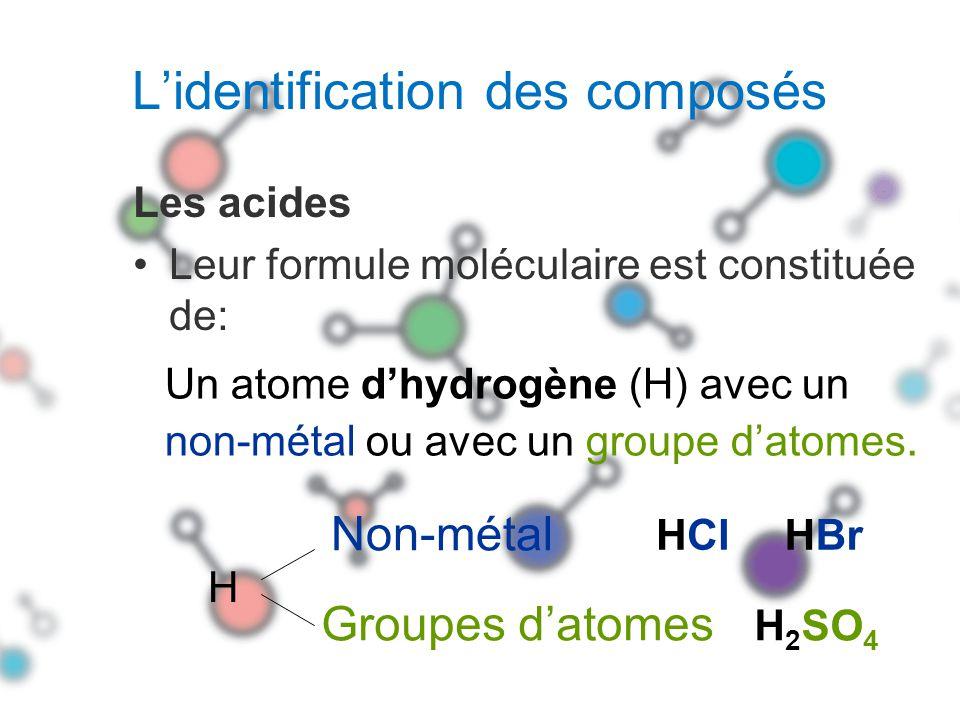 Les acides organiques Jus de citron : C 5 H 7 O 5 COOH Vinaigre : CH 3 COOH Formule moléculaire : Groupe datomes + Atome dhydrogène
