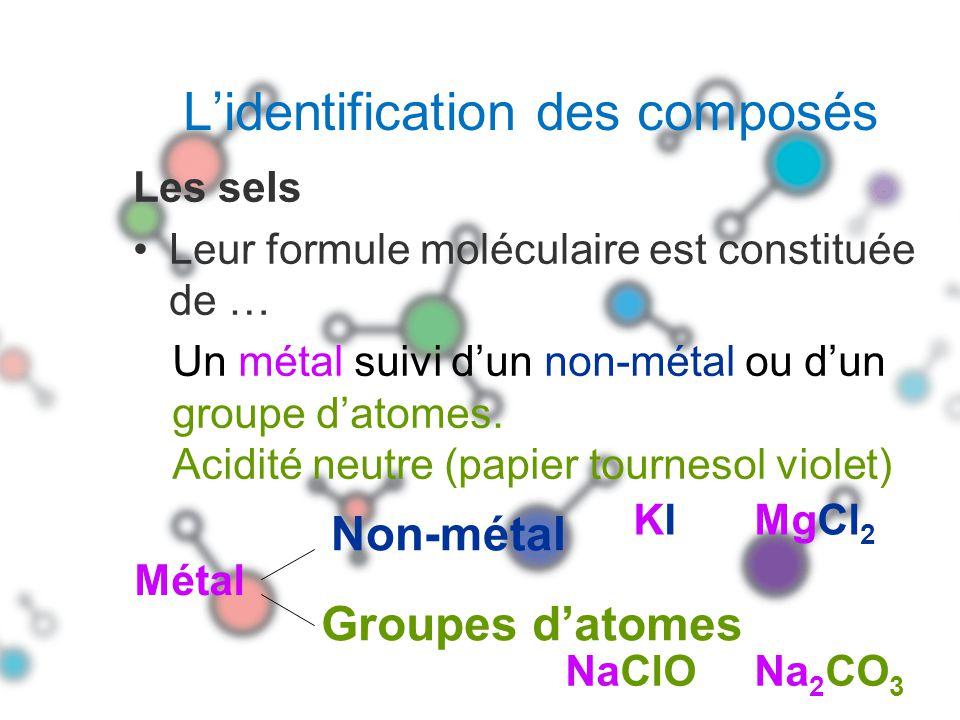 La formule moléculaire dun sel peut aussi être constituée de … Un groupe NH 4 suivi dun non-métal ou dun groupe datomes.