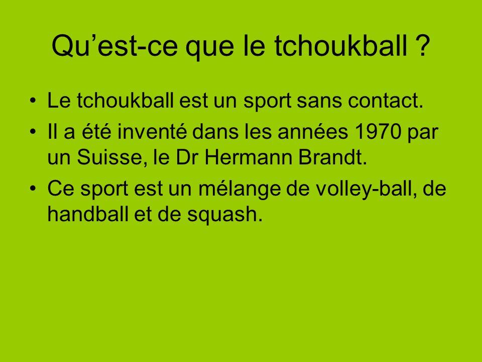 Quest-ce que le tchoukball .Le tchoukball est un sport sans contact.