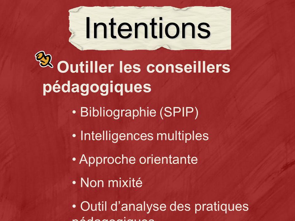 Intentions Outiller les conseillers pédagogiques Bibliographie (SPIP) Intelligences multiples Approche orientante Non mixité Outil danalyse des pratiques pédagogiques