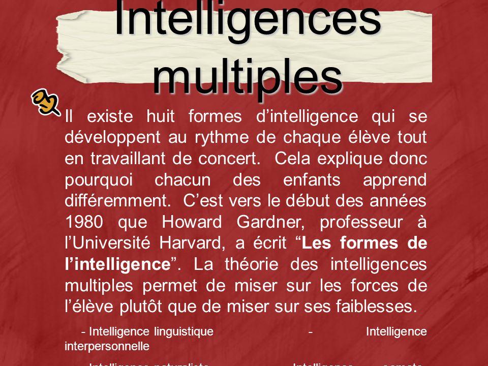Intelligences multiples Il existe huit formes dintelligence qui se développent au rythme de chaque élève tout en travaillant de concert.
