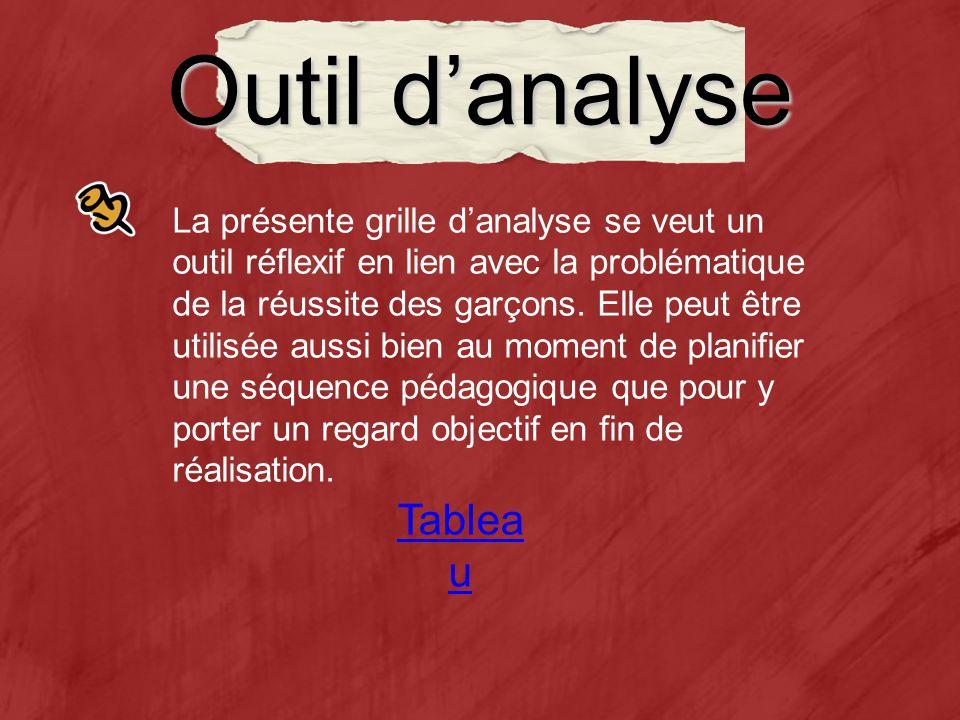 Outil danalyse Tablea u La présente grille danalyse se veut un outil réflexif en lien avec la problématique de la réussite des garçons.