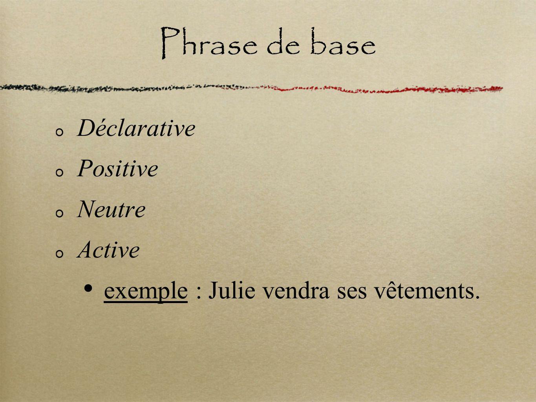 Phrase de base Déclarative Positive Neutre Active exemple : Julie vendra ses vêtements.