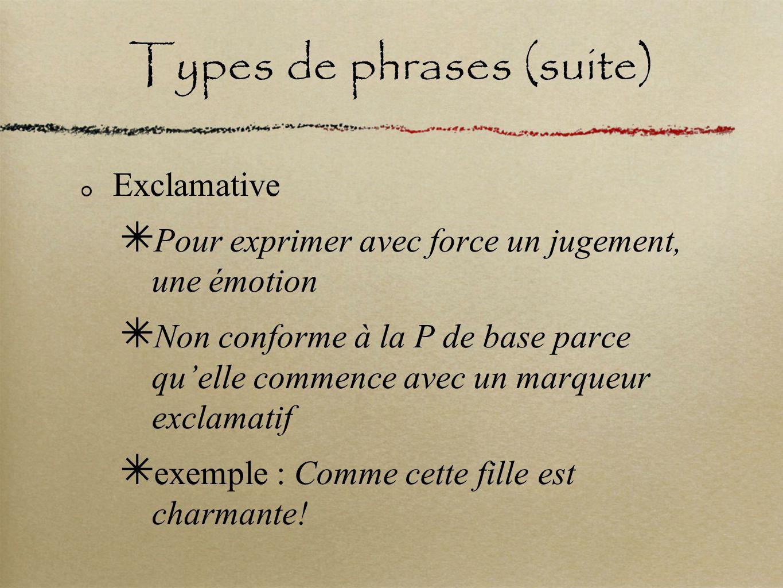 Types de phrases (suite) Interrogative P our obtenir une information, on pose une question N on conforme à la P de base parce quelle contient des marqueurs dinterrogation e xemple :Étudies-tu tes notes de cours.