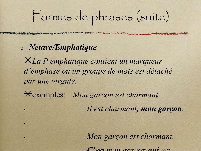 Formes de phrases (suite) Neutre/Emphatique La P emphatique contient un marqueur demphase ou un groupe de mots est détaché par une virgule. exemples: