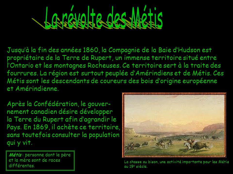 Sous la conduite de Louis Riel, un Métis francophone et catholique, les Métis prennent les armes contre le gouvernement fédéral.
