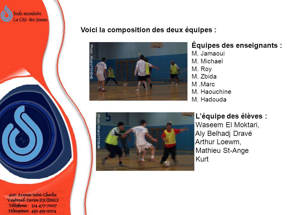 Équipes des enseignants : M. Jamaoui M. Michael M. Roy M. Zbida M.Marc M. Haouchine M. Hadouda Léquipe des élèves : Waseem El Moktari, Aly Belhadj Dra