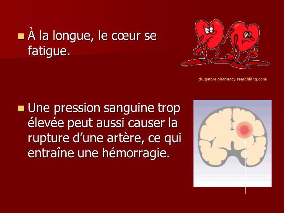 À la longue, le cœur se fatigue. À la longue, le cœur se fatigue. Une pression sanguine trop élevée peut aussi causer la rupture dune artère, ce qui e